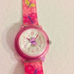 Girlie Watch, Pink Wrist Watch, Butterfly